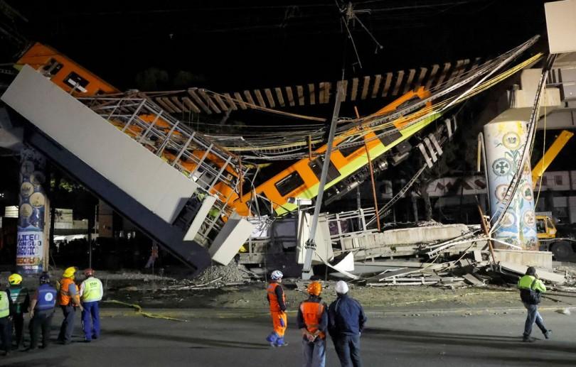 Queda de viaduto no Méxicopor onde passava metrô deixa mortos e feridos